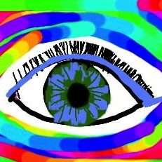 graphic eye with eye lashes and colors