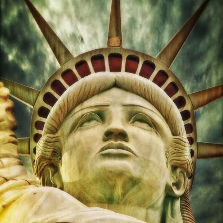 close-up of statue of liberty's face