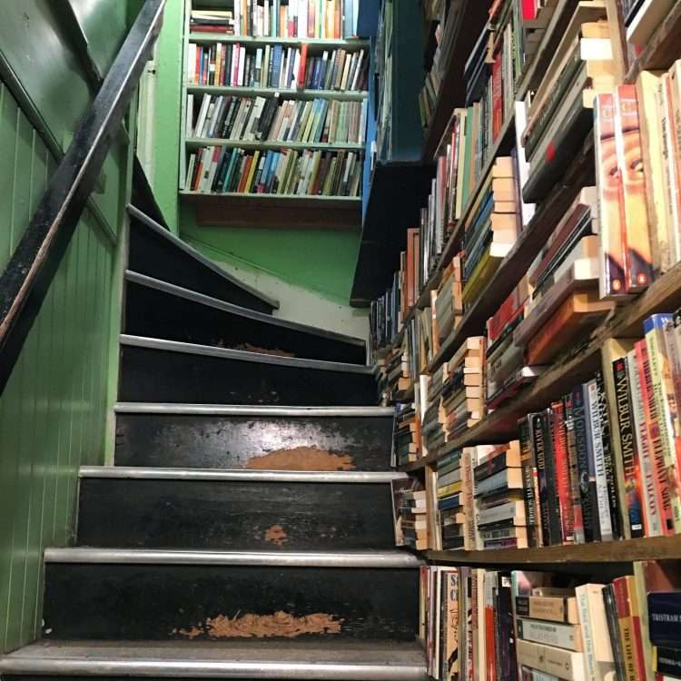 staircase from the basement to the first floor in daedalus bookstore in charlottesville, virginina