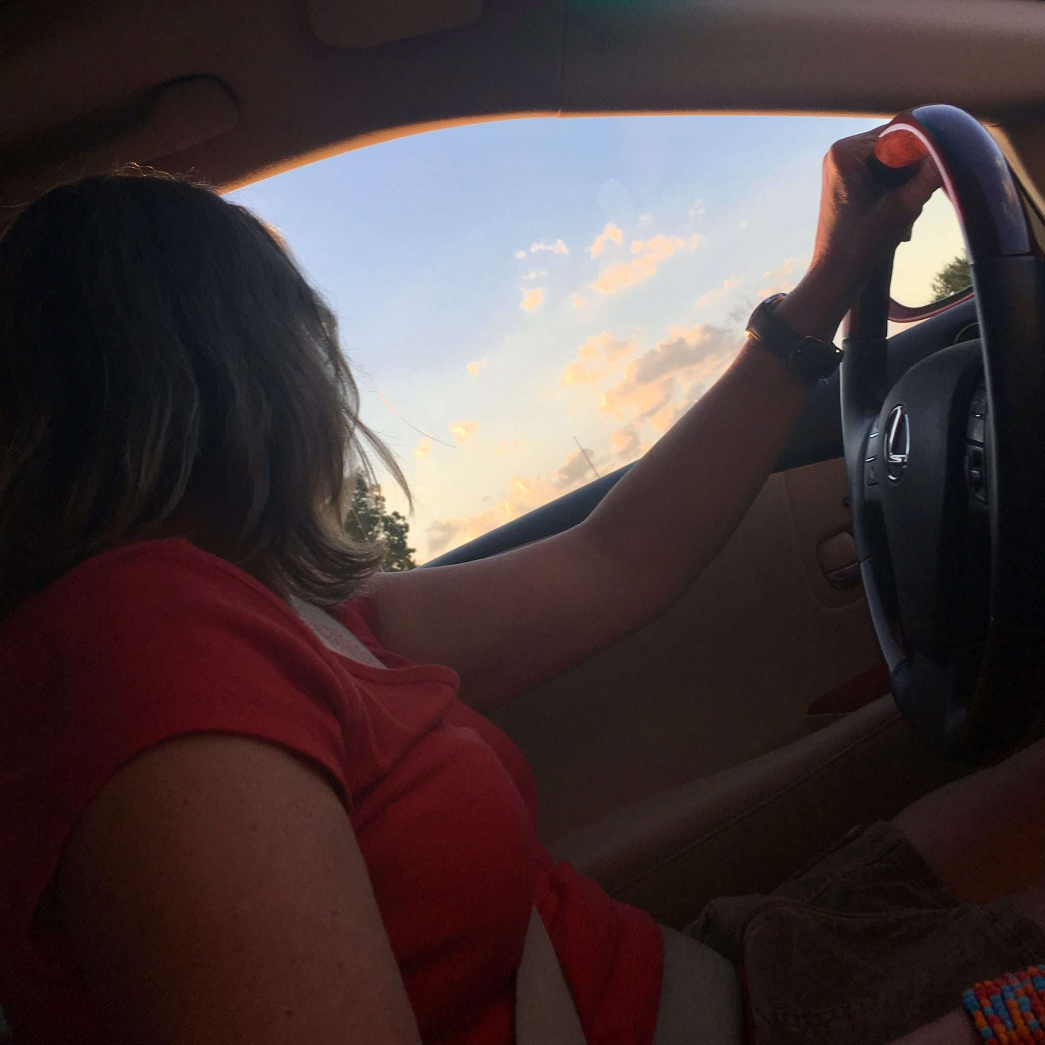woman silhouetted driving looking at beautiful view