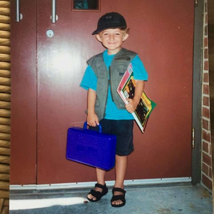 proud little boy on the first day of school