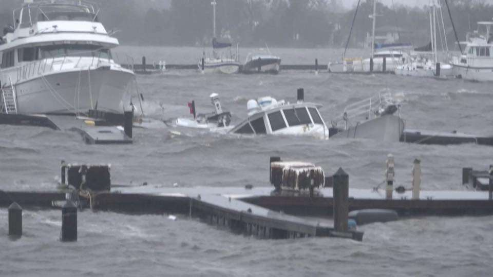 boats sunk at marina from hurricane florence